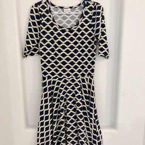 LulaRoe Amelia Navy and Gold Dress